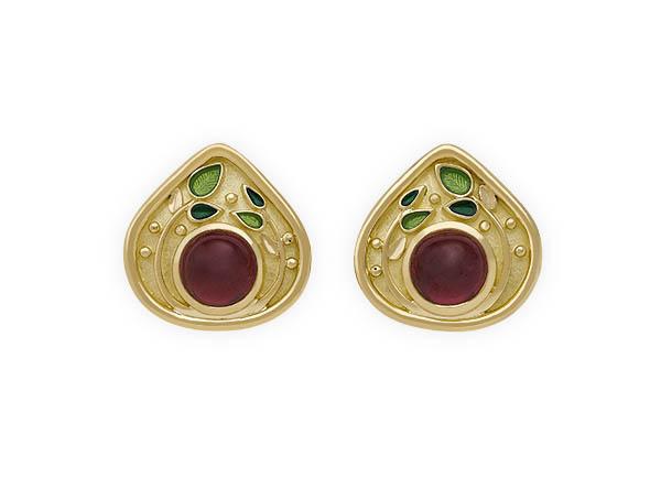 Gold earrings with rhodolite garnets and green enamel; fine jewellery London; gold earrings