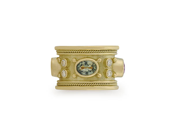 Yellow gold Templar band ring with blue, pink, yellow and green sapphire plus diamonds; fine jewellery London