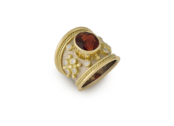 Yellow and white gold tapered Templar ring with Madeira citrine and diamonds; fine jewellery London
