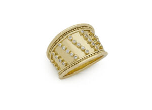 Gold Templar ring with diamonds; fine jewellery London