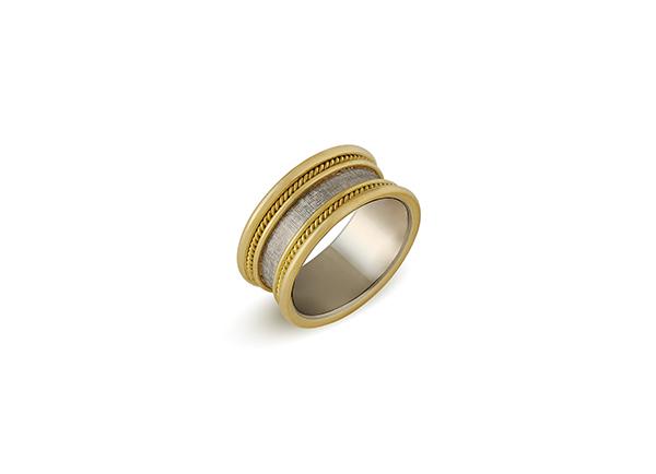 Yellow and white gold wedding band ring; fine jewellery London; wedding ring; Elizabeth Gage