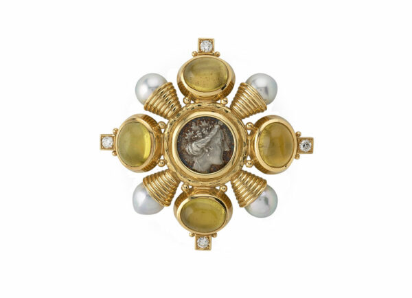 cabachon-yellow-tourmaline-Kiss-pin-with-coin,-diamonds-and-pearls; fine jewellery London