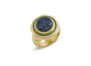 Gold ring with spectrality intaglio and green enamel; fine jewellery London; Elizabeth Gage