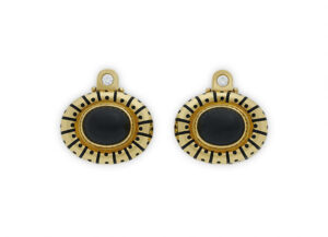 Gold earrings with frosted black onyx and diamonds; fine jewellery London; Elizabeth Gage